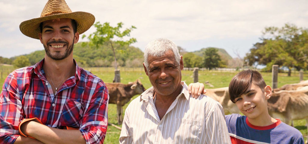 Farming father, son, and grandfather in a field with cows